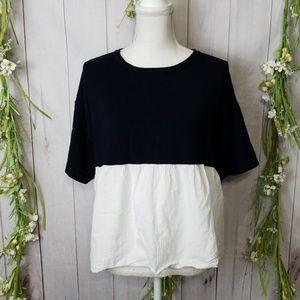 Zara Knit sz S Navy Blue White Short Sleeve Top